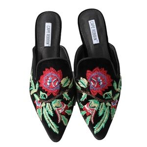 Shoes - Black Floral Embroidered Slip on Mules  Cell17